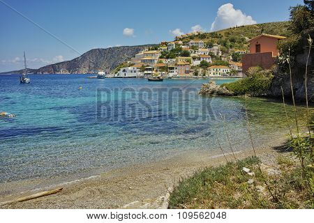 Panorama of Assos village and beautiful sea ba