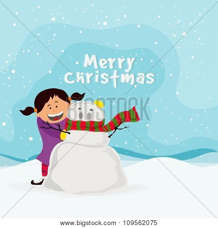 Cute happy girl playing with snowman on winter background for Merry Christmas celebration.