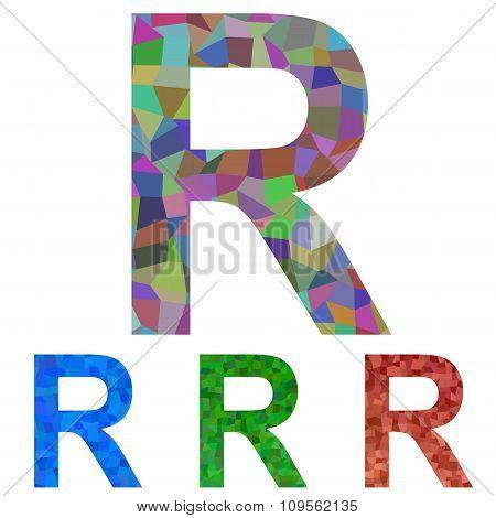 Mosaic font design - letter R