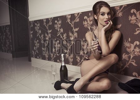 Sexy Girl With Champagne And Lingerie