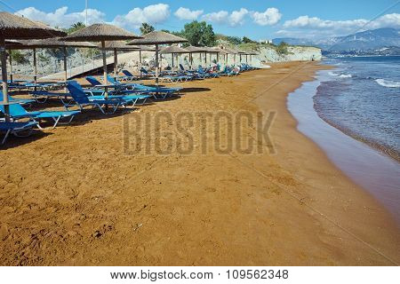 Panorama of Xi Beach, beach with red sand in Kefalonia