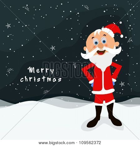 Cute happy Santa Claus standing on winter background for Merry Christmas celebration.