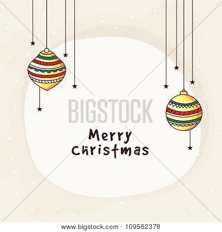 Colorful hanging Xmas Balls decorated greeting card design for Merry Christmas celebration.