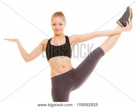 Sporty Girl Showing Blank Copy Space On Hand
