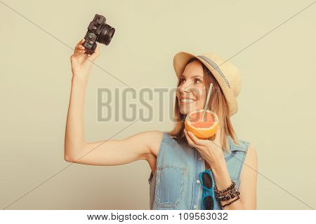 Woman Taking Selfie Self Picture With Camera.