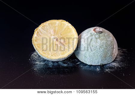 Moldy Lemon Cut In Half