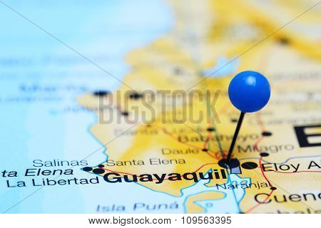 Guayaquil pinned on a map of America