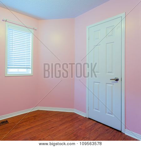 Empty Bedroom in pink color