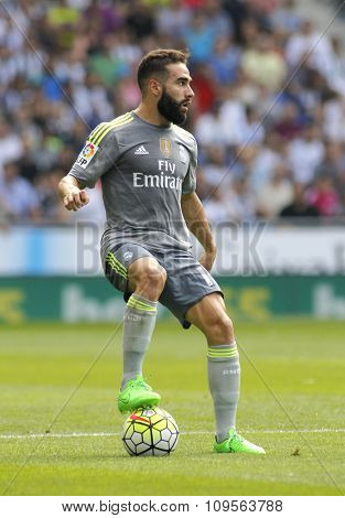 BARCELONA - SEPT, 12: Dani Carvajal of Real Madrid during a Spanish League match against RCD Espanyol at the Power8 stadium on September 12 2015 in Barcelona Spain