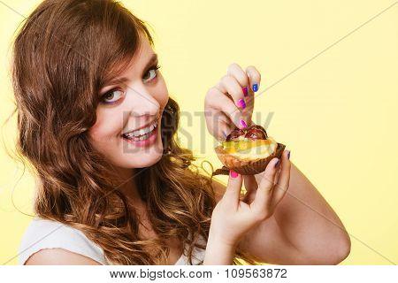 Closeup Woman Eating Fruit Cake Sweet Food