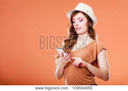 Summer Woman Using Mobile Phone.