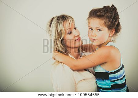 Mother And Little Girl Kid In Studio.