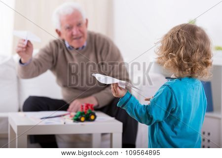 Grandson And Paper Airplanes