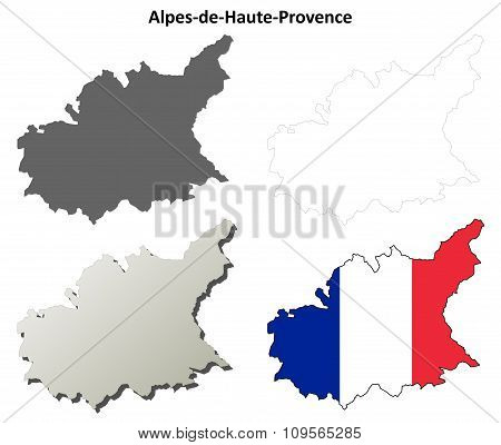 Alpes-de-Haute-Provence, Provence outline map set