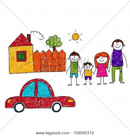 Vector image of happy family with car and house