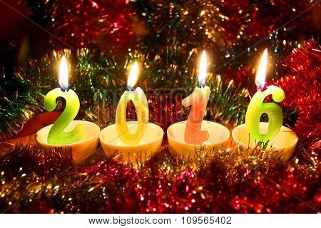 Festive Colorful Card With Candles 2016 On Christmas Tinsel Background