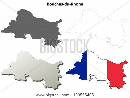 Bouches-du-Rhone, Provence outline map set