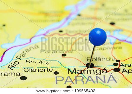 Maringa pinned on a map of Brazil