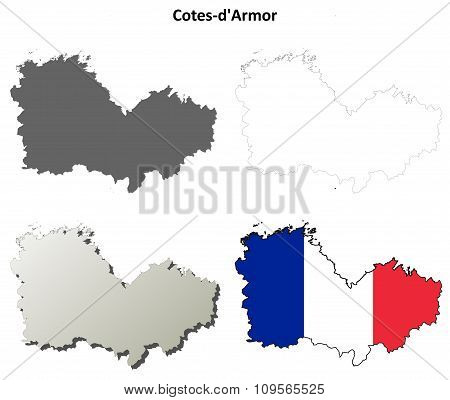 Cotes-d'Armor, Brittany outline map set