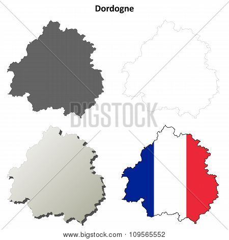 Dordogne, Aquitaine outline map set