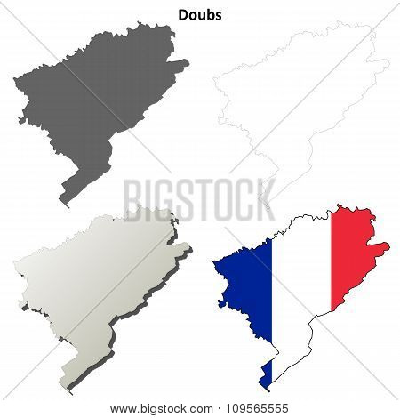 Doubs, Franche-Comte outline map set