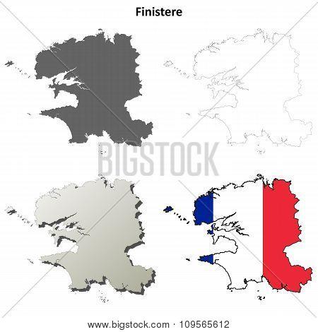 Finistere, Brittany outline map set