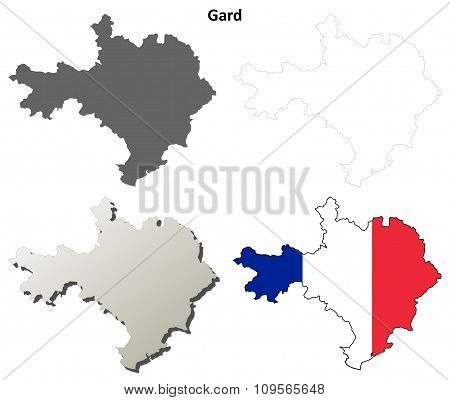 Gard, Languedoc-Roussillon outline map set