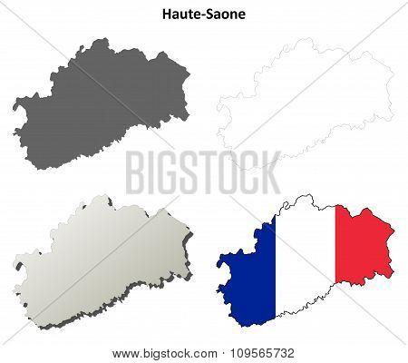 Haute-Saone, Franche-Comte outline map set