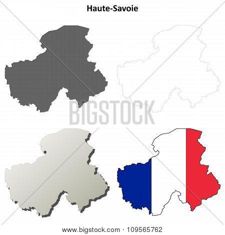 Haute-Savoie, Rhone-Alpes outline map set