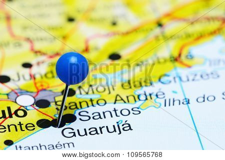 Guaruja pinned on a map of Brazil