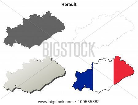Herault, Languedoc-Roussillon outline map set
