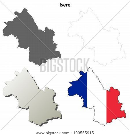 Isere, Rhone-Alpes outline map set
