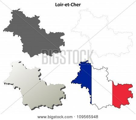 Loir-et-Cher, Centre outline map set