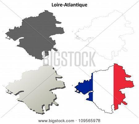 Loire-Atlantique, Pays de la Loire outline map set