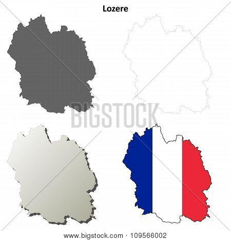 Lozere, Languedoc-Roussillon outline map set