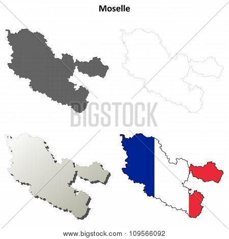 Moselle, Lorraine outline map set