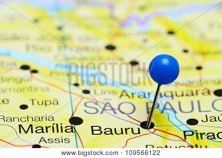 Bauru pinned on a map of Brazil