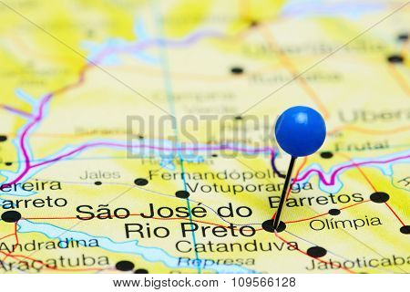Sao Jose do Rio Preto pinned on a map