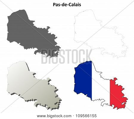 Pas-de-Calais, Nord-Pas-de-Calais outline map set