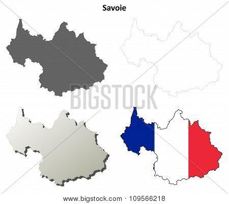 Savoie, Rhone-Alpes outline map set