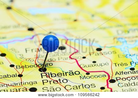 Ribeirao Preto pinned on a map of Brazil