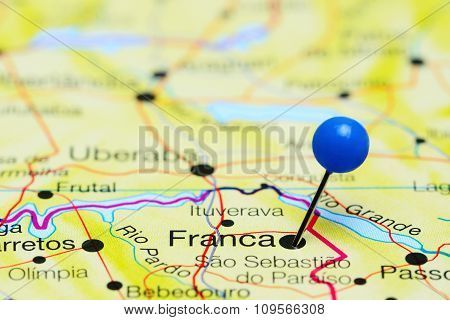 Franca pinned on a map of Brazil