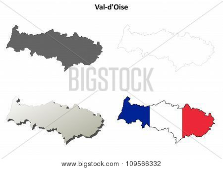 Val-d'Oise, Ile-de-France outline map set