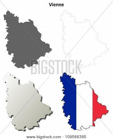 Vosges, Lorraine outline map set