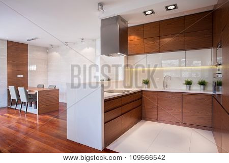 Modern Kitchen In Wood