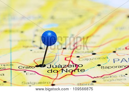 Juazeiro do Norte pinned on a map of Brazil
