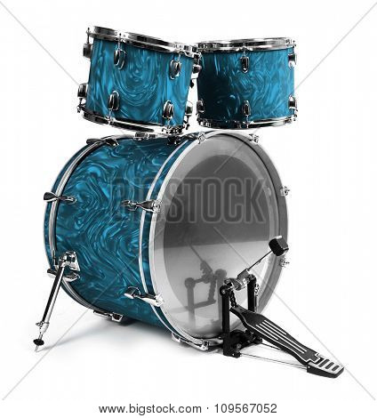 Set of drums isolated on white background, close up