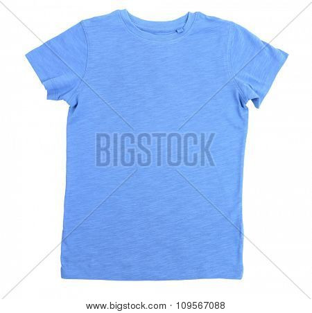 Blue cotton T-shirt isolated on white background