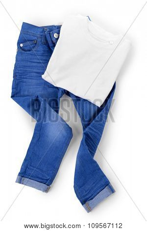 Blue jeans with white cotton T-shirt isolated on white background