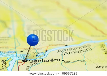 Santarem pinned on a map of Brazil